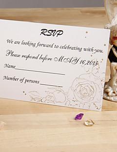 """Card Plat Invitatii de nunta 12-Cărți de răspuns Stil Floral Hârtie Perlă 3 ½"""" x 5""""(9cm*12.5cm)"""