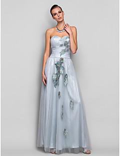 Formeller Abend/Ball/Militär Ball Kleid - Silber Tülle - A-Linie/Princess-Stil - bodenlang - trägerloser Ausschnitt/Herz-Ausschnitt