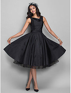 Cocktail Party / Homecoming / Company Party Dress - Plus Size / Petite A-line Cowl Knee-length Taffeta