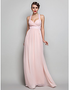 Kappe / Kolonne V-hals - Formell Aften/Skoleball/Militærball Dress - Perle Rosa Gulvlengde Chiffon Plus Sizes
