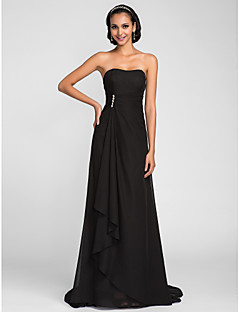 Sweep/Brush Train Chiffon Bridesmaid Dress - Black Plus Sizes / Petite A-line Strapless