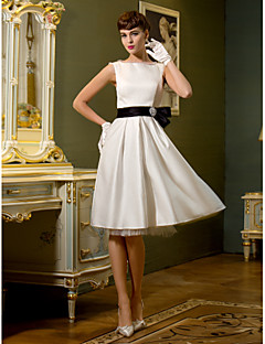LAN TING BRIDE A-line Wedding Dress - Chic & Modern Reception Simply Sublime Knee-length Bateau Satin with Bow Sash / Ribbon