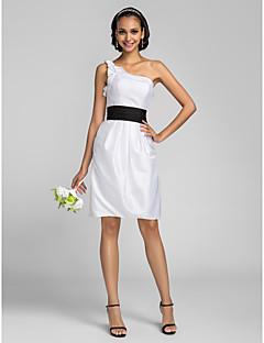 Knee-length Taffeta Bridesmaid Dress - White Plus Sizes / Petite Sheath/Column One Shoulder