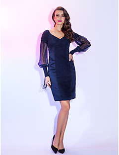 Homecoming Cocktail Party/Holiday Dress - Dark Navy Plus Sizes Sheath/Column V-neck Knee-length Chiffon