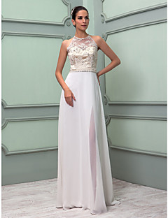 LAN TING BRIDE Sheath / Column Wedding Dress - Chic & Modern Elegant & Luxurious Reception See-Through Floor-length High Neck Chiffon Lace