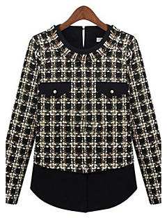 Women's Formal Simple All Seasons Blouse,Plaid Round Neck Long Sleeve Black Medium
