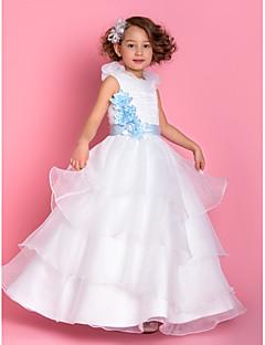 A-Lijn/Prinses Vloer Lengte Bloemenmeisje jurk - Organza Mouwloos
