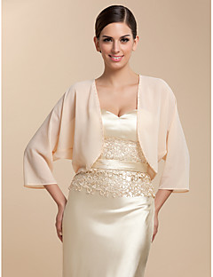 Wedding  Wraps Coats/Jackets 3/4-Length Sleeve Chiffon Orange Party/Evening / Casual T-shirt Open Front