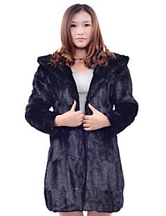 Langarm-Kapuzen Rabbit Fur Büro / Mantel lässig