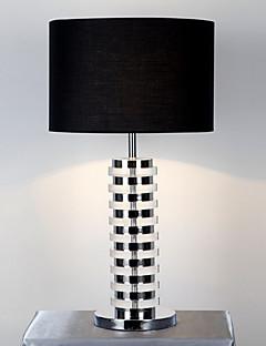 Elegante Moderna lampada da tavolo Cartella corpo in tessuto nero Drum Ombra