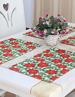 """Floral de Noël napperons en polyester, les 6, 12 """"* 18"""" 1pc"""