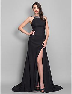 저녁 정장파티/밀리터리 볼 드레스 - 블랙 A라인/프린세스 스위프/브러쉬 트레인 스쿱 쉬폰 플러스 사이즈