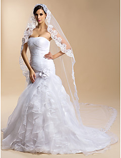 Wedding Veil One-tier Cathedral Veils Lace Applique Edge 118.11 in (300cm) Tulle Lace White Ivory Sheath/ Column Trumpet/ Mermaid