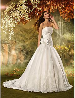 웨딩 드레스 - 아이보리(색상은 모니터에 따라 다를 수 있음) 핏 & 플레어 쿼트 트레인 튜브탑 오르간자 플러스 사이즈