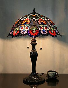 Flower Pattern Table Lamp, 2 Licht, Tiffany zinklegering Glas Schilderen