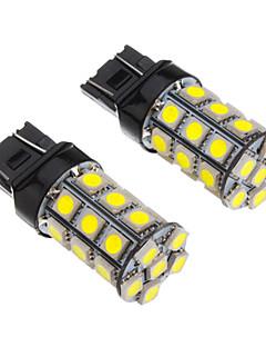 2Pcs T20 7443 27x5050SMD 100-250LM White Light LED Bulb for Car (12V)