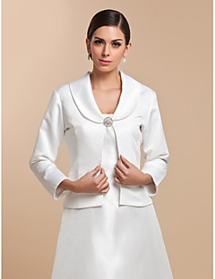 Wedding  Wraps Coats/Jackets 3/4-Length Sleeve Satin White Wedding / Party/Evening / Casual T-shirt Clasp