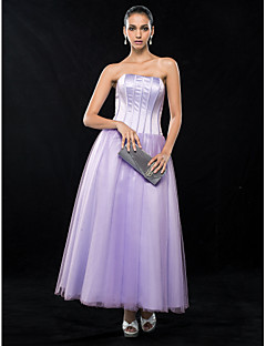 Homecoming Wedding Party/Cocktail Party/Homecoming Dress - Lavender Plus Sizes A-line Strapless Ankle-length Satin/Tulle