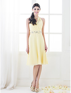 Knee-length Chiffon Bridesmaid Dress - Daffodil Plus Sizes / Petite A-line / Princess High Neck