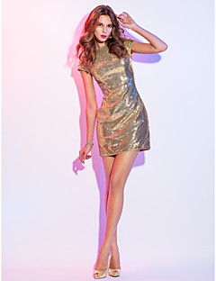 Cocktail Party / Holiday Dress - Gold Plus Sizes / Petite Sheath/Column Scoop Short/Mini Sequined