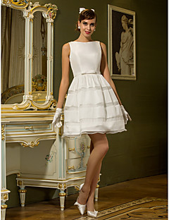 Lanting Bride A-line Petite / Plus Sizes Wedding Dress-Short/Mini Bateau Taffeta