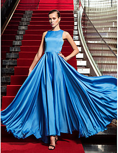 Formal Evening/Military Ball Dress - Ocean Blue Plus Sizes A-line Jewel Floor-length Satin Chiffon