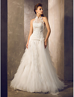 LAN TING BRIDE Sheath / Column Wedding Dress - Chic & Modern Elegant & Luxurious Vintage Inspired Lacy Look Open Back Court Train Halter