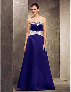 Lanting Bride® Floor-length Satin Bridesmaid Dress A-line Strapless Plus Size / Petite withLace / Sash / Ribbon / Side Draping / Crystal