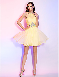 Homecoming Cocktail Party/Homecoming/Holiday Dress - Daffodil Plus Sizes A-line/Princess High Neck Short/Mini Chiffon