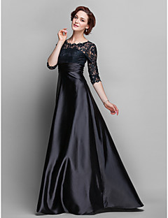 A-line Plus Sizes Mother of the Bride Dress - Black Floor-length Half Sleeve Stretch Satin/Lace