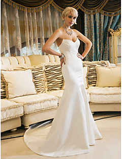 LAN TING BRIDE Trumpet / Mermaid Wedding Dress - Elegant & Luxurious Simply Sublime Court Train Sweetheart Satin with Draped