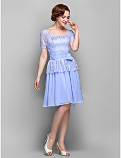 LAN TING BRIDE A-line Plus Size Petite Mother of the Bride Dress - Short Knee-length Short Sleeve Chiffon Lace with Bow(s) Lace Ruching
