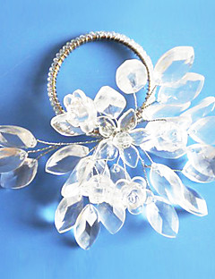 Crystal Clear Flower Wedding Napkin Ring, Acrylic Dia 4.5cm, Set of 12