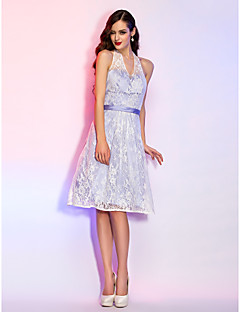 Homecoming Cocktail Party/Homecoming/Holiday/Graduation Dress - Lavender Plus Sizes A-line Halter Knee-length Lace