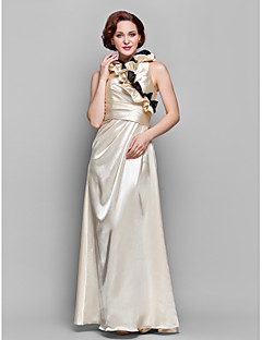 A-line Plus Sizes Mother of the Bride Dress - Champagne Floor-length 3/4 Length Sleeve Stretch Satin