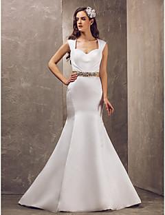 Robe de Mariage - Blanc Sirène Avec Bretelles Brosse Brosse Grandes Tailles