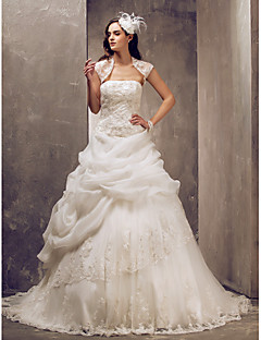 Lanting Bride Ball Gown Petite / Plus Sizes Wedding Dress-Sweep/Brush Train Strapless Lace / Tulle