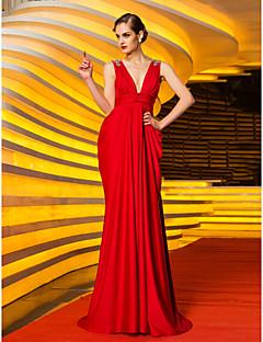 저녁 정장파티/밀리터리 볼 드레스 - 루비 시스/컬럼 스위프/브러쉬 트레인 V넥 저지 플러스 사이즈