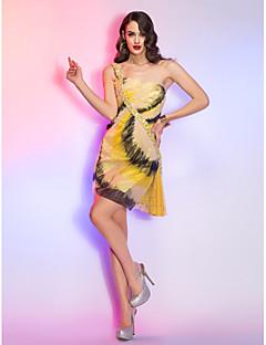 Cocktail Party/Abiball/Feiertage Kleid - Champagner Spitze/Charmeuse - A-Linie - mini - 1-Schulter Übergröße