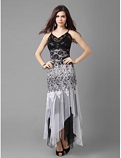 A-linjainen/Prinsessa Spagettiolkaimet Epäsymmetrinen pitsiä ja tylliä Cocktail Dress