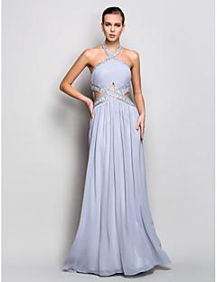 저녁 정장파티/밀리터리 볼 드레스 - 실버 시스/컬럼 바닥 길이 홀터 조젯 플러스 사이즈