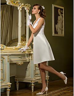 Lanting Bride® Sheath / Column Plus Sizes / Petite Wedding Dress - Chic & Modern / Reception Simply Sublime Knee-length Queen AnneLace /