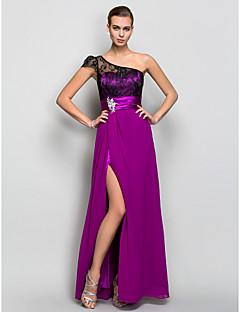 Formeller Abend/Militär Ball Kleid - Purpurrot Georgette - A-Linie - bodenlang - 1-Schulter Übergröße