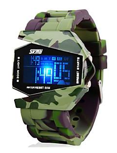 SKMEI 男性 軍用腕時計 リストウォッチ デジタルウォッチ LED LCD カレンダー クロノグラフ付き 耐水 アラーム デジタル シリコーン バンド グリーン