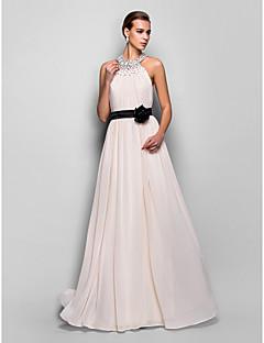 저녁 정장파티/밀리터리 볼 드레스 - 펄 핑크 A라인 바닥 길이 홀터 조젯 플러스 사이즈