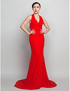 Fiesta formal Vestido - Rojo Corte Recto Barrer / cepillo tren - Escote Halter Gasa Tallas grandes