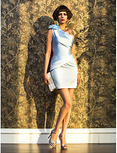 Cocktail Party/Holiday Dress - Sky Blue Sheath/Column One Shoulder Short/Mini Satin