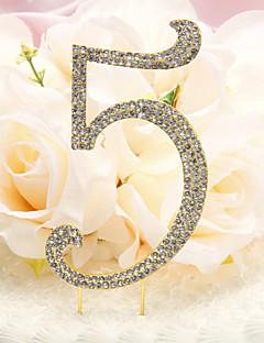 Rhinestone Covered Metal Anniversary/Birthday Number Cake Topper