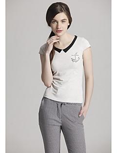 Zoely Kvinder Søde Pan Collar Solid Color Skede Casual White T Shirt 101121T054