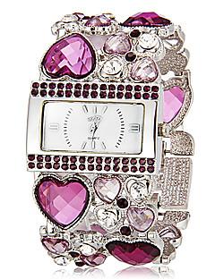 Dame Moteklokke Armbåndsur Japansk Quartz Imitasjon Diamant Quartz Band Glitrende hjerteform Bohemsk Elegante klokker Grønn Gylden Lilla